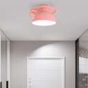 Cup Shape Ceiling Light Fixtures Macaron Iron 1 Light Ceiling Fixture in Red/Pink/White for Hallway