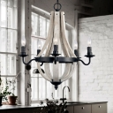 Wood and Metal Empire Chandelier Country Style 5 Lights Hanging Pendant Light in Black