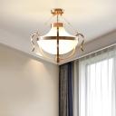 Traditional Bowl Hanging Light Opal Glass 3 Lights Foyer Ceiling Pendant Light in Gold