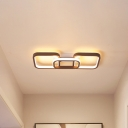 2/3/4/5-LED Square Flush Mount Ceiling Light Metal Modern Brown Ceiling Flush Light in Warm/White