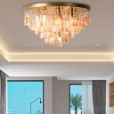 Cone Shape Flush Mount Light Contemporary Crystal Bead and Shell Ceiling Lamp in Brass for Study Room