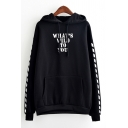 Popular Diagonal Stripes Letter WHAT'S WILD TO YOU Printed Long Sleeve Unisex Casual Sports Hoodie with Pocket