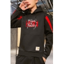 Mens Popular Fashion Letter BLACK FRIDAY Printed Contrast Long Sleeve Casual Pullover Hoodie