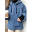 CREAT Letter Embroidered Long Sleeves Warm Faux Fur Teddy Hoodie For Girls
