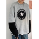 Mens Fashion Letter DOINE IS BETTER Star Graphic Printed Colorblock Long Sleeve Round Neck Fake Two-Piece Sweatshirt