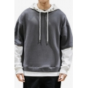 Mens Popular Colorblocked Long Sleeve Fake Two-Piece Drawstring Hoodie