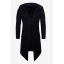 Mens Cool Black Solid Color Long Sleeve Cloak Cardigan Hoodie