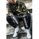 Mens Cool Camouflage Letter MISTAKE EVOLUTION Printed Long Sleeve Fake Two-Piece Loose Fit Drawstring Hoodie