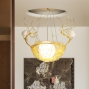 Frosted Glass Global Pendant Light with Nest Design Art Deco Single Light Suspension Light
