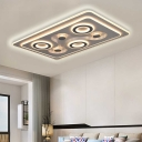 Led Rectangle Ceiling Light Modern Acrylic Living Room Flush Light in Second Gear
