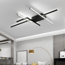 Abstract Flush Mount Lighting Modern Black LED Ceiling Flush Light with Silica Gel Shade