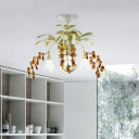3/6 Lights Petal Pendant Light with Crystal and Leaf Country Style Opal Glass Chandelier in Distressed White