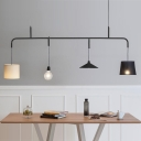 Modern Linear Island Lamp with Fabric Shade 4 Lights Indoor Pendant Light for Dining Room