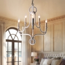 Rust Finish Candle Hanging Ceiling Light Traditional Wrought Iron 6 Lights Pendant Light for Dining Room