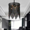 Black Tassel Chandelier Lighting 6 Lights Rustic Metal Chain Pendant Light for Living Room