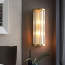 Clear Crystal Tube Sconce Lighting 2 Lights Contemporary Wall Light in Gold for Hotel Living Room