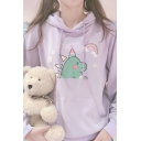 Cartoon Rainbow Animal Painted Solid Color Drawstring Hood Loose Relaxed Hoodie with Pocket