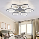 Gray Flower LED Ceiling Mount Light Modern Acrylic Neutral/Warm/White Flushmount Light for Dining Room