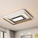 Square/Rectangle Frame Flush Ceiling Light Led Modern Flush Mount Ceiling Light in Black Finish, 16