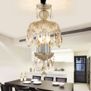 4 Lights Dome Pendant Light with Amber Glass Shade Modern Hanging Ceiling Light in Silver