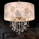 Modern Drum Chandelier Light 5 Lights Fabric Hanging Light with Flower Pattern and Clear Crystal Bead