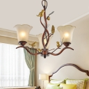 Village Style Branch Hanging Ceiling Light Frosted Glass Shade 3/5/6/8 Lights Bedroom Chandelier
