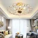 Country Style Wire Frame Semi Flush Lamp Metal and Crystal 4 Lights Semi Flush Ceiling Light in Gold