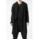 Black Straight Long Sleeve Single Button Vintage Longline Hoodie