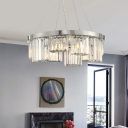 Clear Faceted Crystal Round Chandelier Lighting Modern 10 Lights Chrome Suspension Light