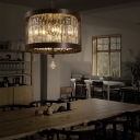 Wire Mesh Round Pendant Light with K9 Crystal Block Country Style 4 Lights Dining Room Lighting in Black