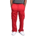 Simple Plain Drawstring Waist Flap Pocket Straight Leg Cargo Pants