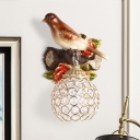 Right/Left Bird Wall Lighting Fixture Country Style 1 Light Resin Sconce Light with Clear Dome Shade in Brown