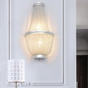 Empire Chandelier Sconce Lighting Modern 2 Lights Metal Chain Wall Lamp in Coffee/Silver for Bedside