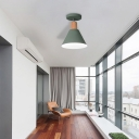 Green/White/Gray Semi-Flushmount Lamp with Shade Nordic Metal 1 Bulb Indoor Semi-Flush Ceiling Light
