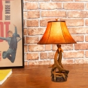 Parchment Flared Standing Table Light Rustic Loft 1 Light Table Lighting with Antler Accents