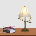 Empire Shade Table Light with Bird White Beige Shade Countryside Standing Table Lighting
