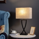 Traditional Rectangular/Round Table Lamp Beige Fabric Shade 1 Light Living Room Lighting Fixture in Black