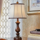 Traditional Style Bell Table Light with White Shade 1-Light Fabric Standing Table Lamp