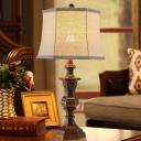 1 Head Drum Standing Table Light Linen Shade Vintage Bedroom Table Lighting in Brown