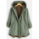 Pure Color Check Pattern Button Fly Winter Warm Hooded Coat Outerwear Jacket