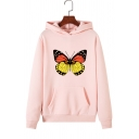 Fashionable Butterfly Print Long Sleeve Loose Pullover Hoodie for Women