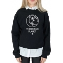 Trendy Letter THERE IS NO PLANET B Printed Long Sleeve Pullover Graphic Sweatshirt