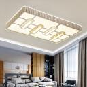 White Rectangle Flushmount Lighting Modern Metal Integrated Led Ceiling Flush Light for Living Room