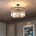 Traditional Scalloped Chandelier Blue/Clear Crystal Modern 3 Lights Hanging Ceiling Light in Black