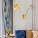 Pink/Yellow/Blue Adjustable Armed Wall Light Sconce with Cone Shade Macaron Metal 1 Bulb Sconce Light for Bedroom