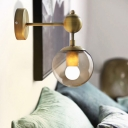 1/2-Head Global Wall Mount Light with Amber Glass Shade Modernist Wall Sconce Lighting in Gold for Bedroom