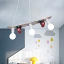 Skateboard Shaped Chandelier Lamp Wood Cartoon 3 Lights Chandelier Lighting Fixture in Red/Blue