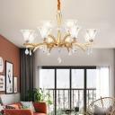 6/8/12 Heads Bell Chandelier Pendant Light Modern Crystal Pendant Lighting in Gold