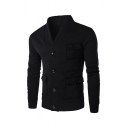 Fashionable V-Neck Button Front Long Sleeve Flap Pocket Solid Color Sweatshirt