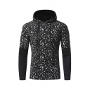 Stylish Spot Pattern Fake Two Piece Panel Long Sleeve Pullover Hoodie for Men